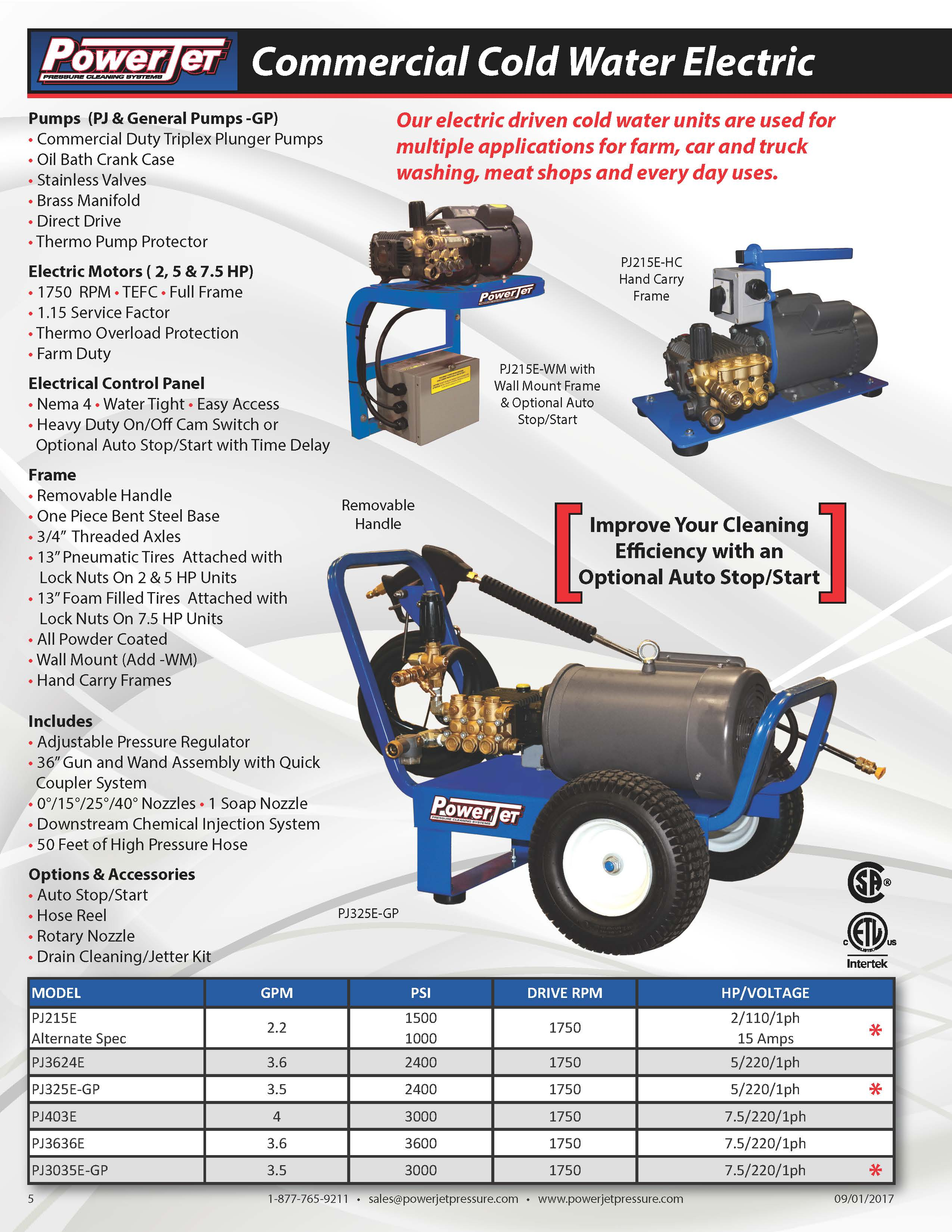 Powerjet Commercial Cold Water Electric Pressure Washer